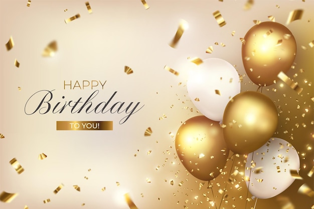 Happy birthday with luxury balloons and confetti Free Vector