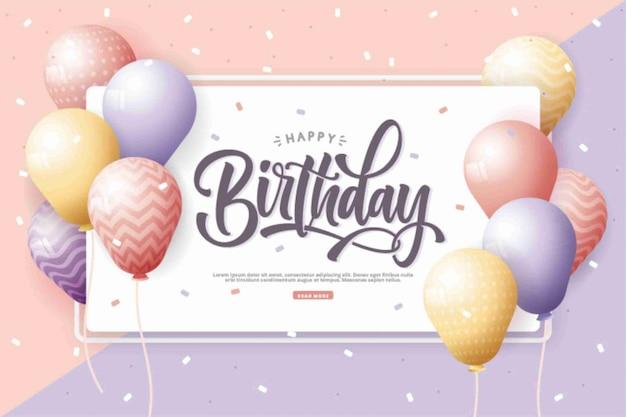 С днем рождения с реалистичным фоном воздушных шаров Premium векторы