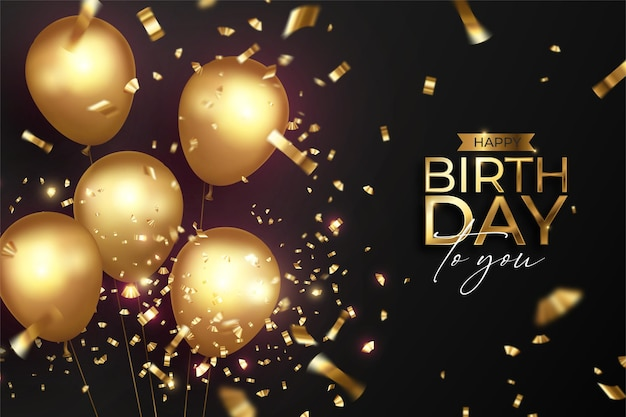Happy birthday with realistic golden balloons Free Vector