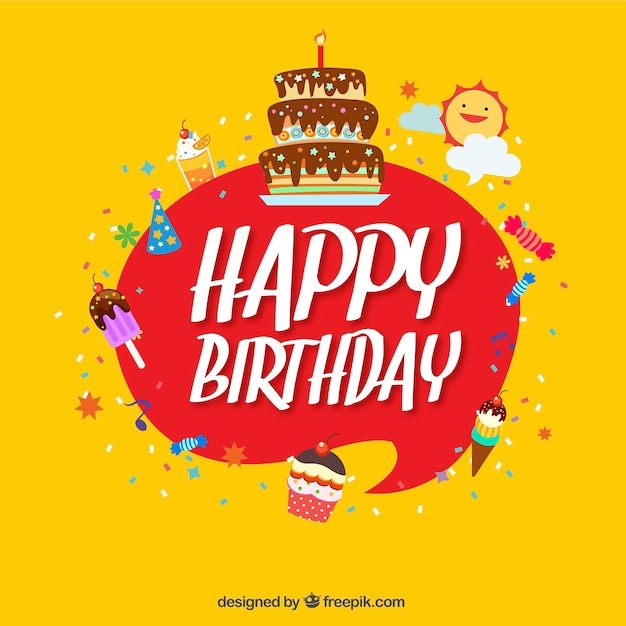 Happy birthday yellow background with\ elements