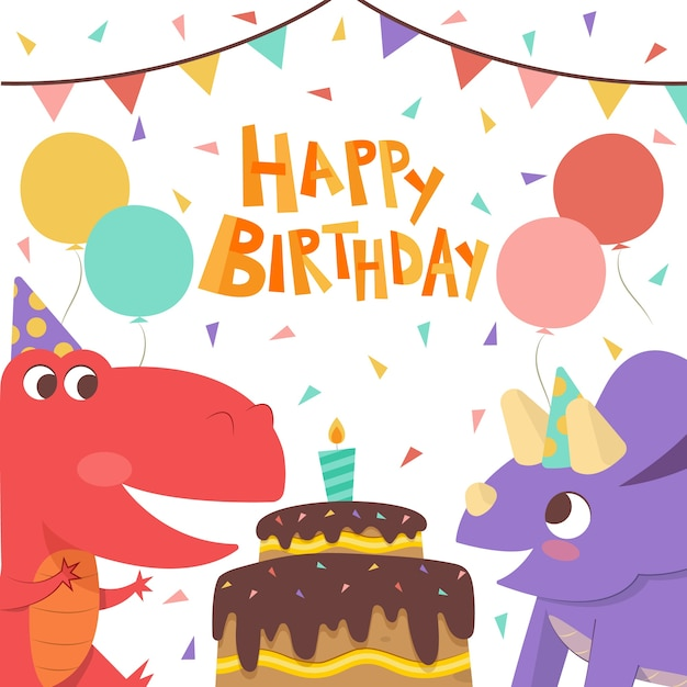Happy birthday to you dinosaurs with cake Free Vector