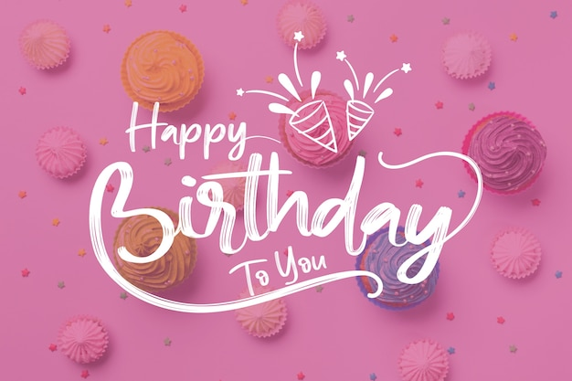 Premium Vector Happy Birthday To You Lettering With Party Hats