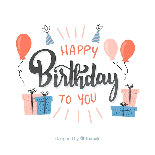 Happy birthday to you lettering Free Vector