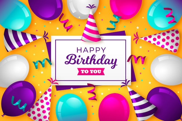 Happy birthday to you with balloons and confetti Free Vector