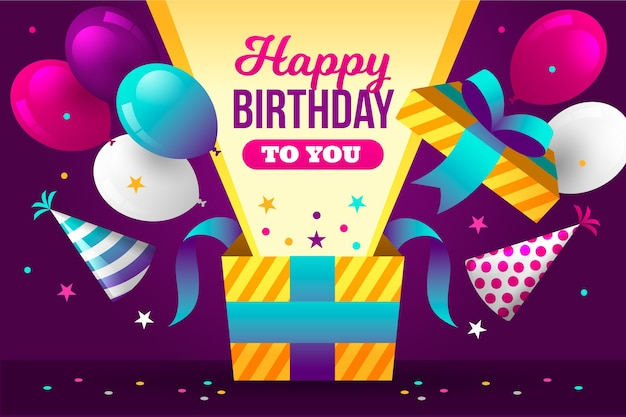 Happy birthday to you with balloons and gift box Free Vector
