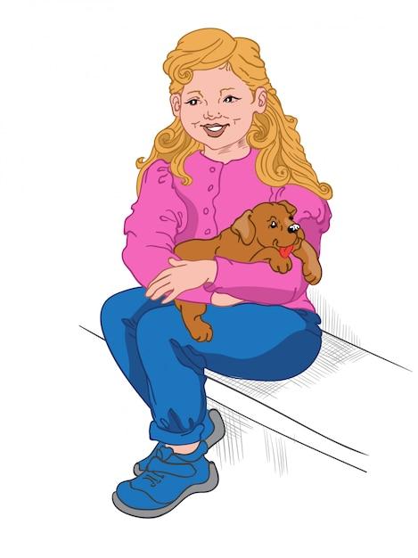 Felice ragazza bionda in blue jeans, scarpe da ginnastica e camicetta rosa che tiene un cucciolo in grembo Vettore gratuito
