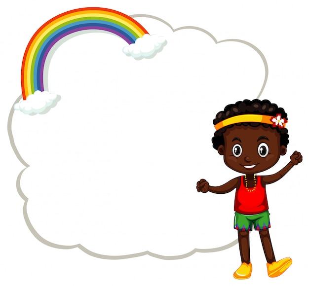 Счастливый мальчик и рамка с облаками Бесплатные векторы