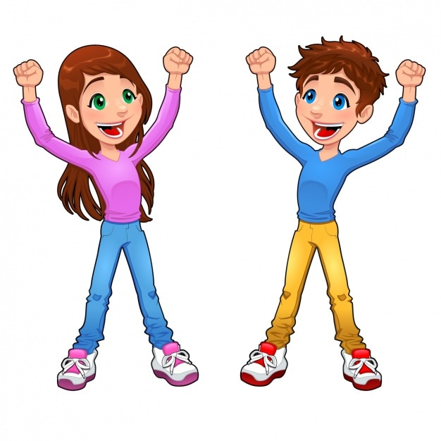 Happy Boy And Girl Design Vector
