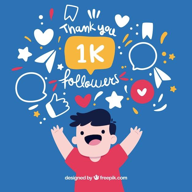 Happy boy background celebrating 1k followers Free Vector