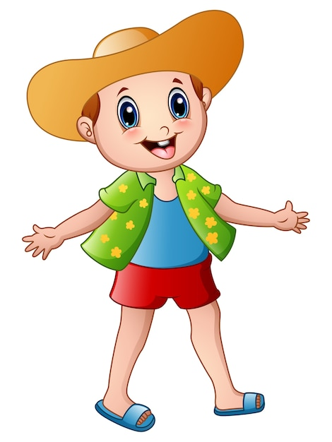 Happy boy cartoon with summer clothes and a hat Premium Vector