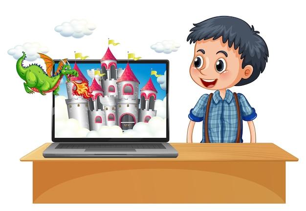 Ragazzo felice accanto al computer con il castello sul desktop dello schermo Vettore gratuito