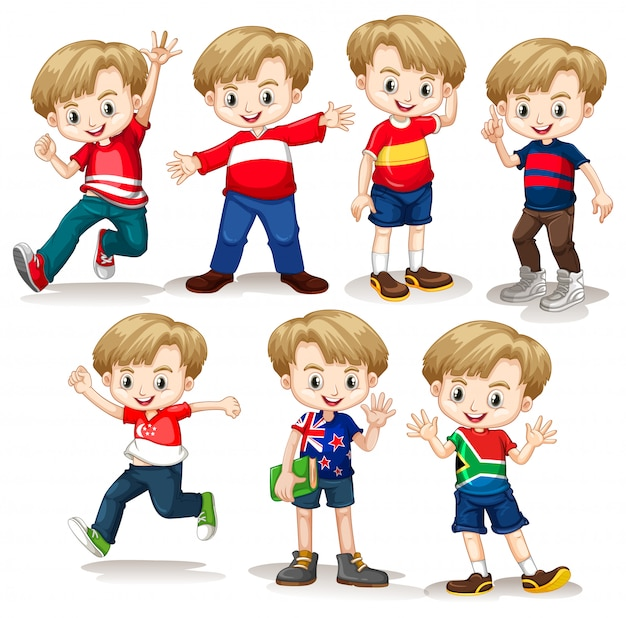 Happy boy in different costumes Free Vector