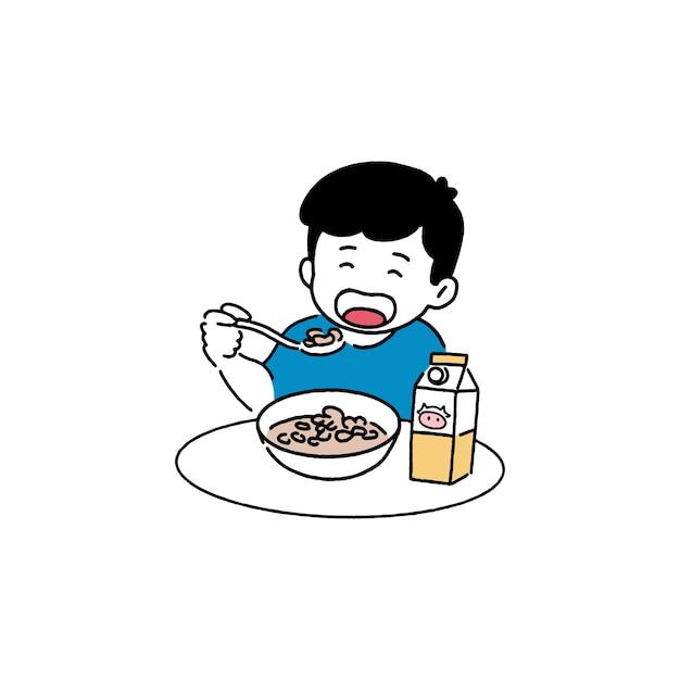 Счастливый мальчик ест хлопья, концепция завтрака, рисованный стиль линии искусства. Premium векторы