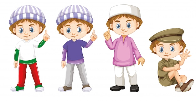 Happy boy in four different costumes Free Vector