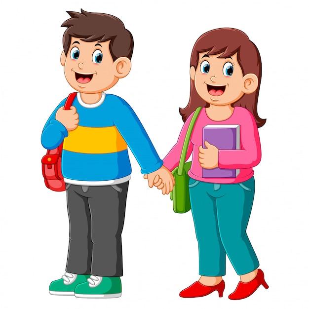 Happy boy and girl go to school Premium Vector