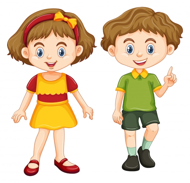 Boy Hair Images Download: Happy Boy And Girl Standing Vector