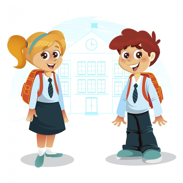 Happy boy and girl with backpack in front of school building Premium Vector