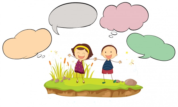 Happy boy and girl with speech balloon Free Vector