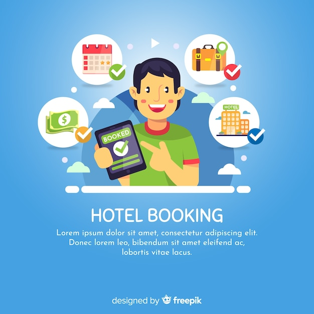 Happy boy hotel booking background Free Vector