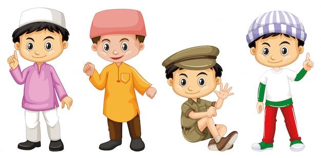 Счастливый мальчик в четырех разных костюмах Бесплатные векторы