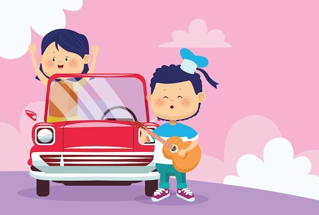 クラシックカーでギターと女の子を遊んで幸せな少年 Premiumベクター