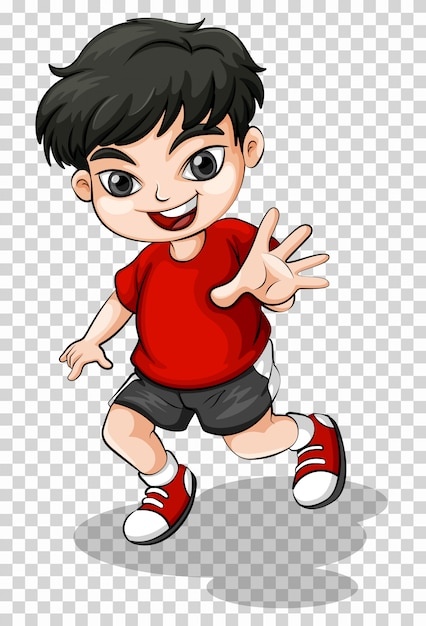 Happy boy in red shirt Free Vector