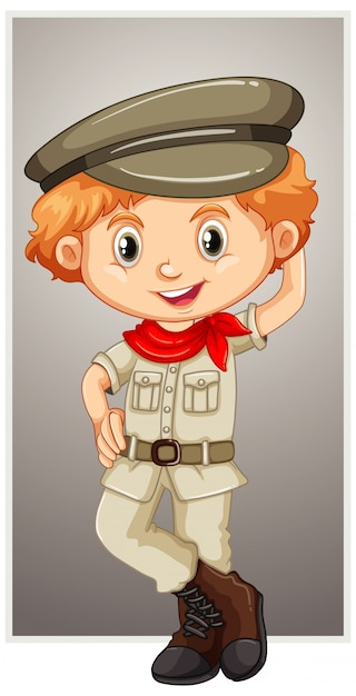 Happy boy in safari costume Free Vector
