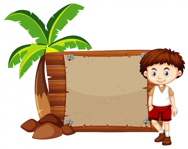Happy boy and sign on wooden board Free Vector