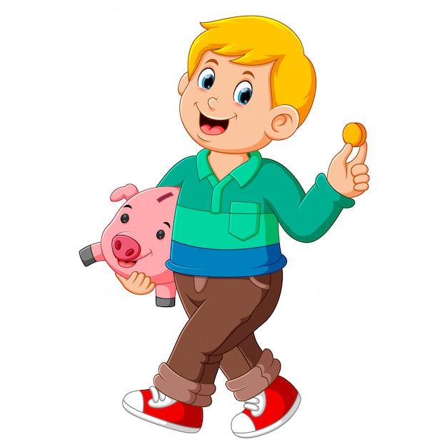 Happy a boy smiling and carrying pig bank Premium Vector