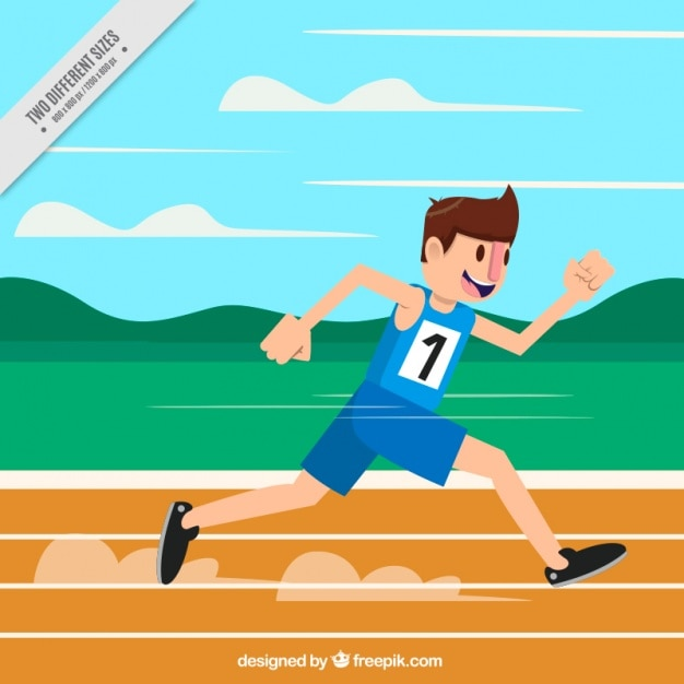 Happy boy training for competition Free Vector
