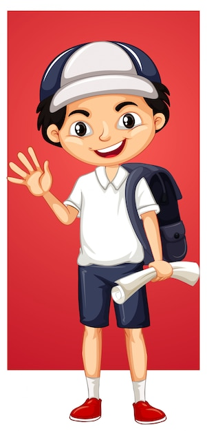Happy boy with backpack and paper Free Vector