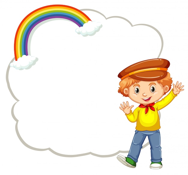 Happy boy with cloud template Free Vector