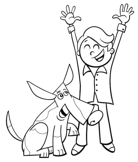 Счастливый мальчик с собакой мультфильм раскраски Premium векторы