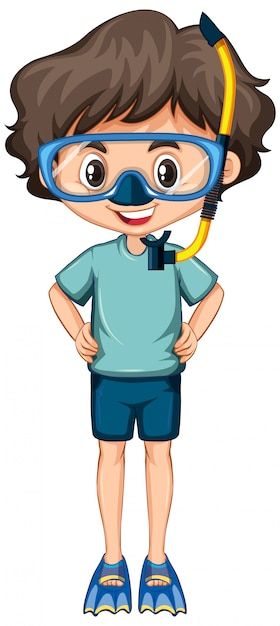 Happy boy with fins and snorkel on white Free Vector