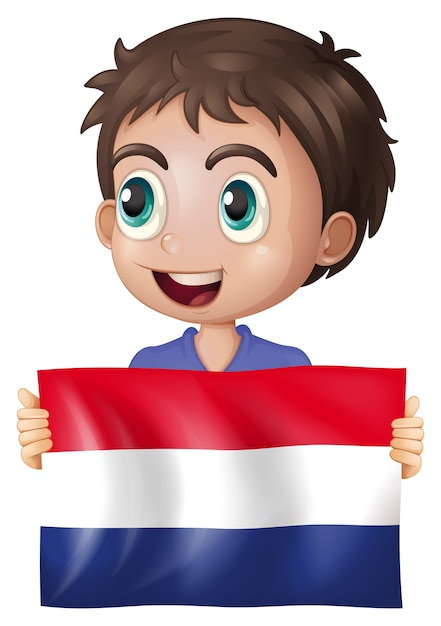 Happy boy with flag of netherlands Premium Vector