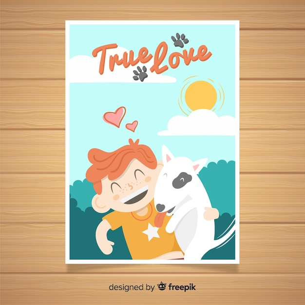 Happy boy with his dog Free Vector