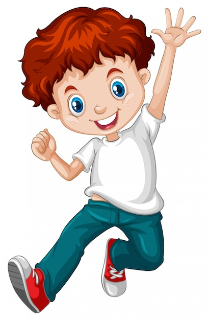 Счастливый мальчик с рыжими волосами в синих джинсах Бесплатные векторы