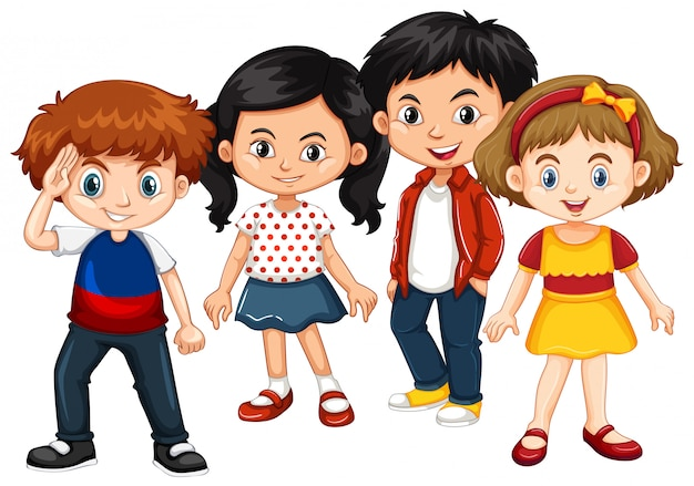 Happy boys and girls together Free Vector