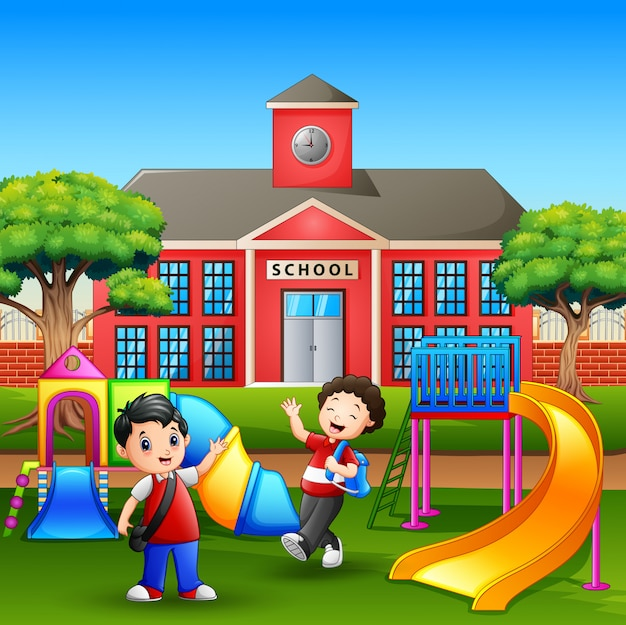 Happy boys playing in the school yard Premium Vector
