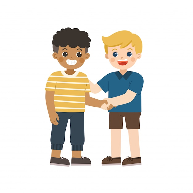 Happy boys standing and shaking hands making peace. happy multiracial kids best friends. happy boys catching each other's hand. school friendship. Premium Vector
