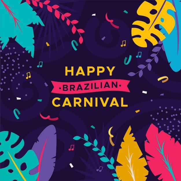 Счастливый бразильский карнавал с разноцветными листьями Бесплатные векторы