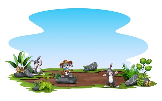 自然を楽しんで幸せなウサギ Premiumベクター