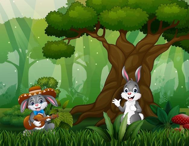 Happy bunnies having fun in the jungle Premium Vector