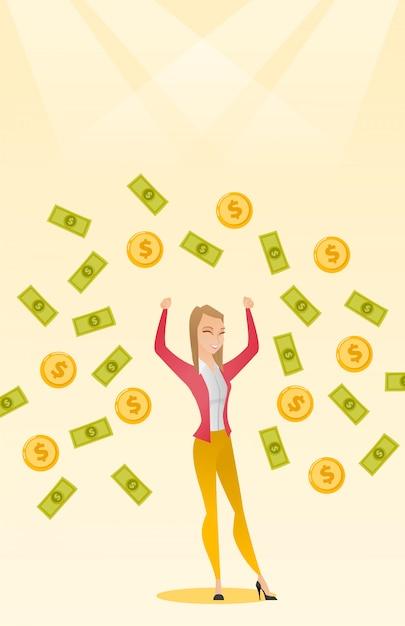 Happy busiess woman under money rain. Premium Vector