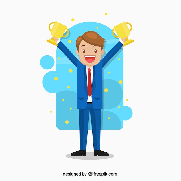 Happy business character with two cups Free Vector