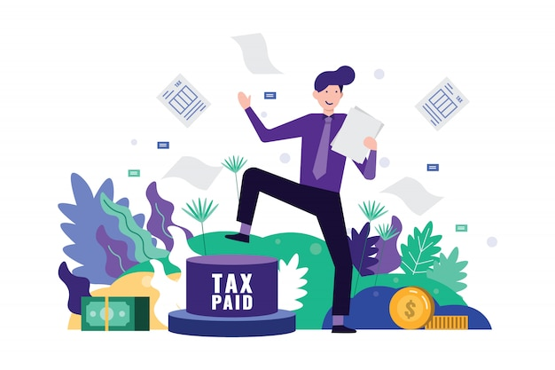 Happy business man pedal button to paid tax and clear tax documents. Premium Vector