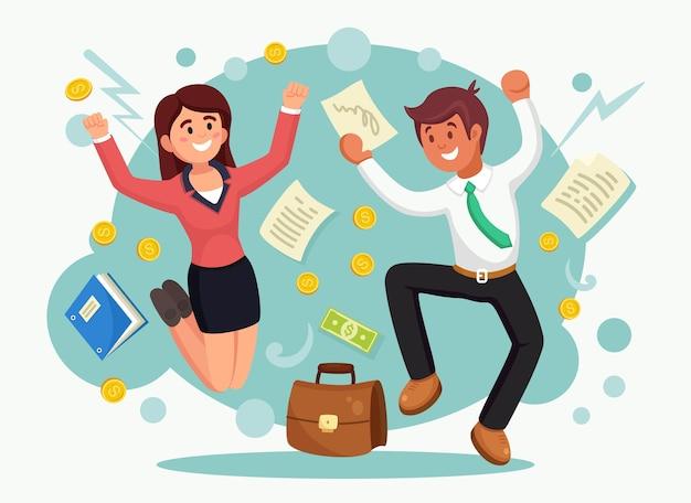 喜びのためにジャンプ幸せなビジネス人々。背景にスーツを着た男女の笑顔。従業員は成功、勝利、良い仕事を祝います。図。 Premiumベクター