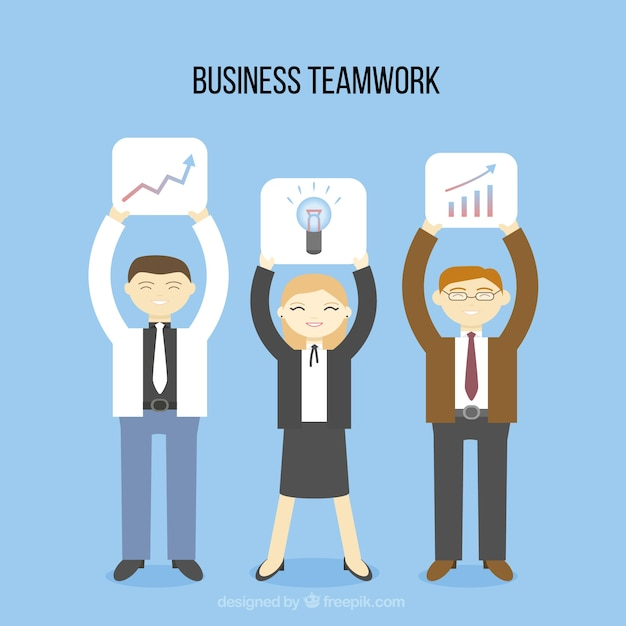 Happy business teamwork Premium Vector