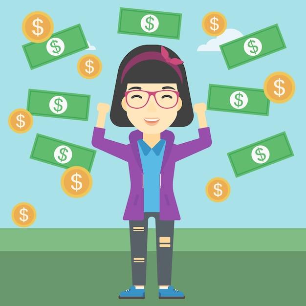 Happy business woman under money rain Premium Vector