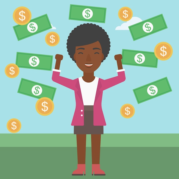 Happy business woman under money rain. Premium Vector
